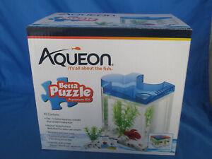 Aqueon Betta Puzzle Aquarium Kit, 1/2 Gallon, Blue New in Box