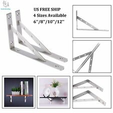 "Pair Stainless Shelf Brackets L Shelf Support Right Angle Brackets 6"",8"",10"",12"""