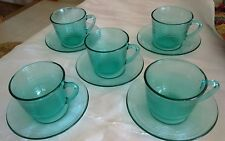 5 X ARCOROC FRENCH GLASS OCEAN GREEN CUP AND SAUCERS. FRANCE