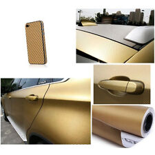 "12""×60"" 3D Auto Car Carbon Fiber Film Stickers Vinyl Wrap Sheet Roll Decal Gold"