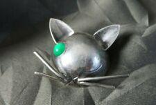 Stylish Vintage Sterling Silver Georg Jensen JoPol Modernist One Eyed Cat Brooch