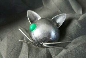 Stylish Vintage Sterling Silver Georg Jensen JoPol Modernist One Eyed Cat Brooch