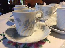 Service à Café HAVILAND Vintage Fleurs Bleuets 9 Tasses Moka Porcelaine Limoges