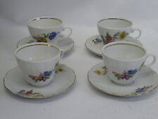 VINTAGE WUNSIEDEL BAVARIA GERMANY PORCELAIN FLORAL SET OF 4 CUPS & SAUCERS