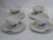 VINTAGE WUNSIEDEL BAVARIA GERMANY PORCELAIN FLORAL SET OF 4 CUPS & SAUCERS