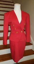 GUY LAROCHE Red Double Breasted Skirt Suit  Size 6