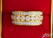Men's GOLD FINISH PRONG SET ETERNITY BAND Simulated Lab Diamonds