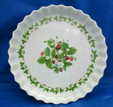 "Portmeirion Quiche Dish Summer Strawberries 10.75"" Red Green White Blossoms Euc"