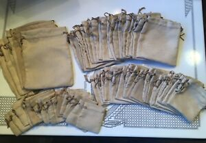 71 Assorted Sizes Beige Micro Suede Jewelry Pouches Drawer String