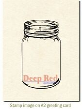 Deep Red Stamps Mason Jar Rubber Cling Stamp
