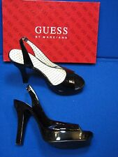 7 M Guess Platonic Black Ladies Womens High Heel Shoes Patent Leather Slingbacks