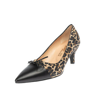Court Shoes EU 39 UK 6 US 9 Leopard Pattern Bow Split Vamp Made in Italy