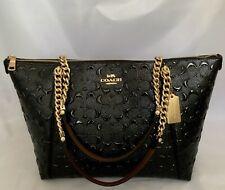 Coach F87673 Signature Patent Debossed Leather Ava Chan Tote Bag Im/black