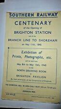 SOUTHERN RAILWAY HANDBILL CENTENARY OF BRIGHTON STATION MAY 11 1940 EXHIBITION