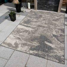 Indoor Outdoor Rugs Grey Distressed Look Plastic Waterproof Patio Staycation Mat