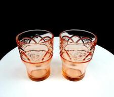 """FEDERAL DEPRESSION GLASS ROSEMARY PINK 2 PIECE 4 1/4"""" TUMBLERS 1935 - 1937"""