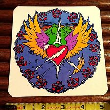 Grateful Dead Era Sticker Winged Heart & Lightning Bolt & Roses by Tattoo Randy