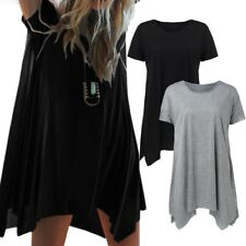 Women Summer Short Sleeve Loose Tops Blouses T-Shirt Beach Mini Short Boho Dress