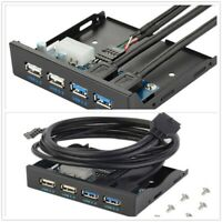 """4 Ports USB 3.0 2.0 HUB Expansion Adapter 3.5"""" Floppy Bay Front Panel Connector"""