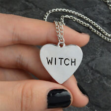 Halloween Heart-shaped Witch Necklace Unisex Witch Pendant Wiccan Jewellery Gift