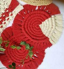 2x Cotton Braid Coasters Macrame Cup Mat Red & White Non-slip 5' - 7.5' Diameter