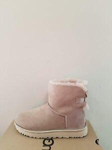 Ugg Australia  Women's Mini Bailey Bow II Metallic Boots  Size 7 NIB