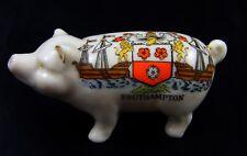 Vintage Crested China Pig, Wunt Be Druv, Southhampton Crest