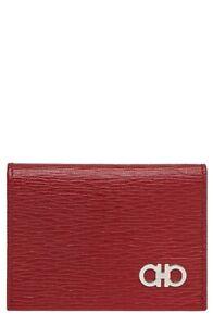 SALVATORE FERRAGAMO Revival Gancio Leather Card Case RED / NERO With Gift Box