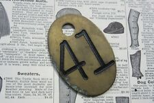 Vintage Number 41 Tag Cow Tag #41 Brass Metal Antique Cattle Tag Keychain Rustic
