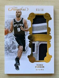 2017-18 FLAWLESS TONY PARKER #d 3/10 GOLD JERSEY DUAL PATCH GAME WORN SPURS