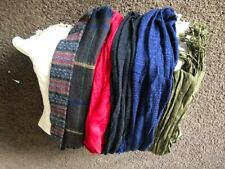 Infinity/long scarves, set of 6, Red, Navy, Black, Browns and Multi