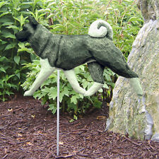Akita Outdoor Garden Sign Hand Painted Figure Gray