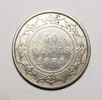 Canada 1888 Newfoundland Silver 50 Cents Half Dollar Coin