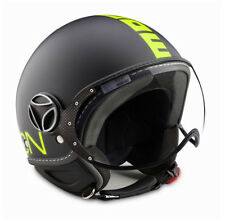 10010040234 HELMET MOMO FIGHTER CLASSIC BLACK FROST DECAL YELLOW FLUO M