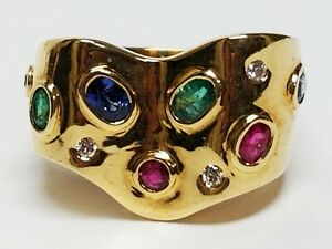 Estate 18K Yellow Gold Bezel Set Emerald Sapphire Ruby & Diamond Ring 7 ~ 10.20g