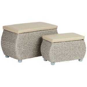 SALE TWIN STORAGE TRUNK/STOOL BEDDING/BLANKET RATTAN WICKER BOX/BENCH/SEAT #804