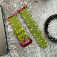 For Red Apple Watch 6 SE 44mm Quality Thick Green Calf Leather Watch Strap Band