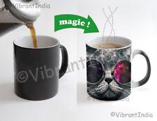 Cool Cat space shades Color Changing Heat Sensitive Tea Cup Magic Coffee Mug