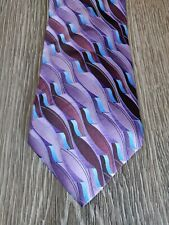 Arrow Neckwear purple with blue abstract tie 100% silk EUC