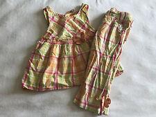 Gymboree Girls 5 6 Outfit Set Social Butterfly Orange Plaid Tunic Top Capri Pant