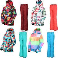GSOU SNOW Womens Ladies Ski Suits Snowboard Jacket Coat + Ski Pants Trousers