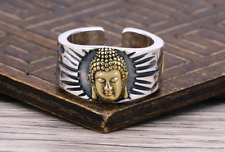 Buddha Silver Ring Amulet 925 Sterling Swastika Good Fortune Blessed Free Size