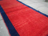 Old Traditional Hand Made Vintage Oriental Gabbe Rug Wool Red Rug 305x130cm