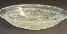Pressed Glass Oval Serving Bowl Vintage Tiara Indiana Clear Daisy