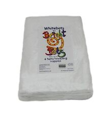 White Bots by Bright Bots 6pack 70x70cms Terry Towelling Nappy Squares White