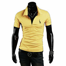 Mens Slim Fit POLO Shirts Solid Short Sleeve Casual Golf T-shirt Tee Tops Jersey