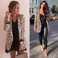 Women Snake Skin Print Long Sleeve Blazer Jacket Outwear Cardigan Coats H9Q4