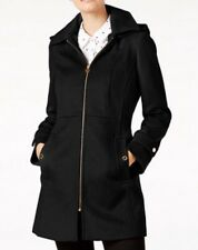 Michael Kors Wool Blend Coat Trench Zipper Hood Petite Black PM $275 NWT