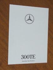 1990 Mercedes-Benz 300TE original Australian 4 page Specifications folder