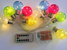 10 Bulb 40LED E27 Style Coloured Round Battery String Light+Remote+Timer+8 mode